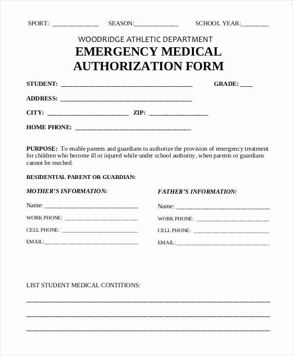 Medical Release forms Template Inspirational Emergency Medical form Template – Medical form Templates