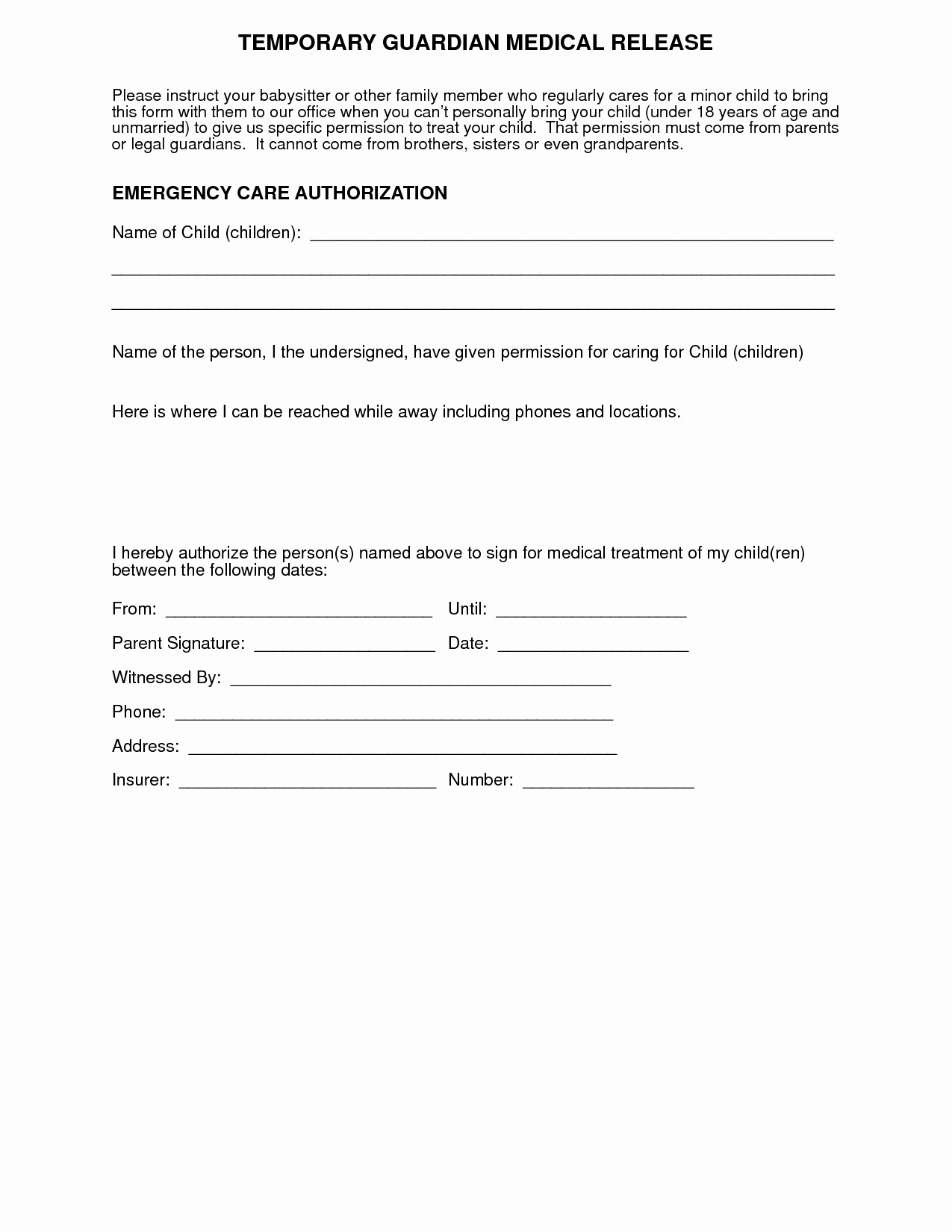 Medical Release forms Template Lovely Medical Authorization form for Grandparents