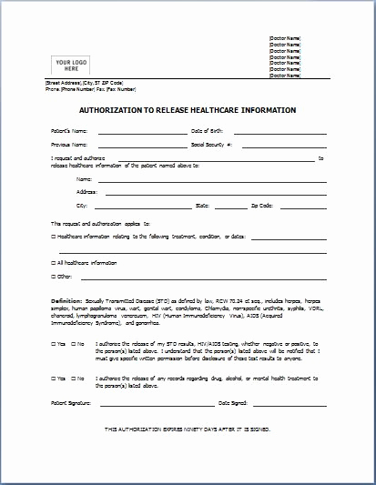 Medical Release forms Template Lovely Sample Medical Authorization form Templates