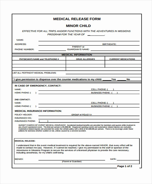 Medical Release forms Template Luxury 24 Medical Release form Templates