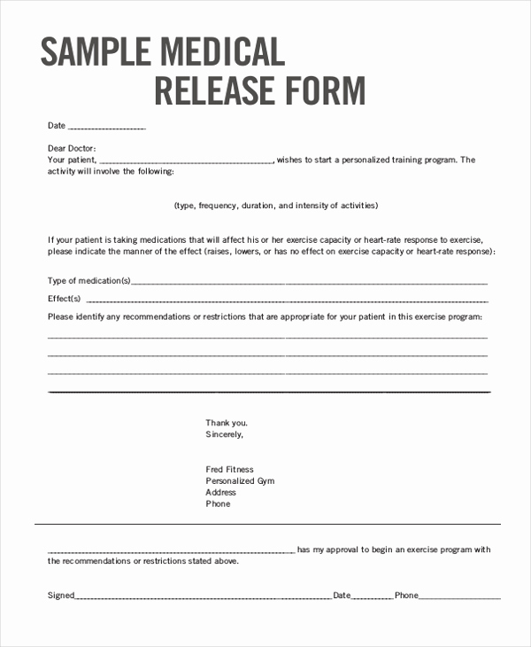 Medical Release forms Template Luxury Sample Medical Release form 11 Free Documents In Word Pdf