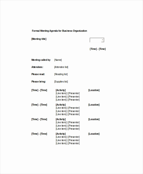 Meeting Agenda Template Doc Awesome 9 formal Meeting Agenda Templates Pdf Doc