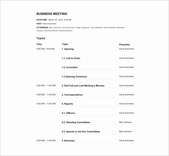 Meeting Agenda Template Doc Beautiful Agenda Template – 24 Free Word Excel Pdf Documents