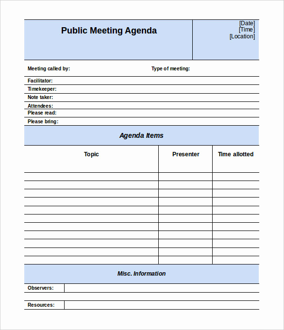 Meeting Agenda Template Doc Best Of 50 Meeting Agenda Templates Pdf Doc