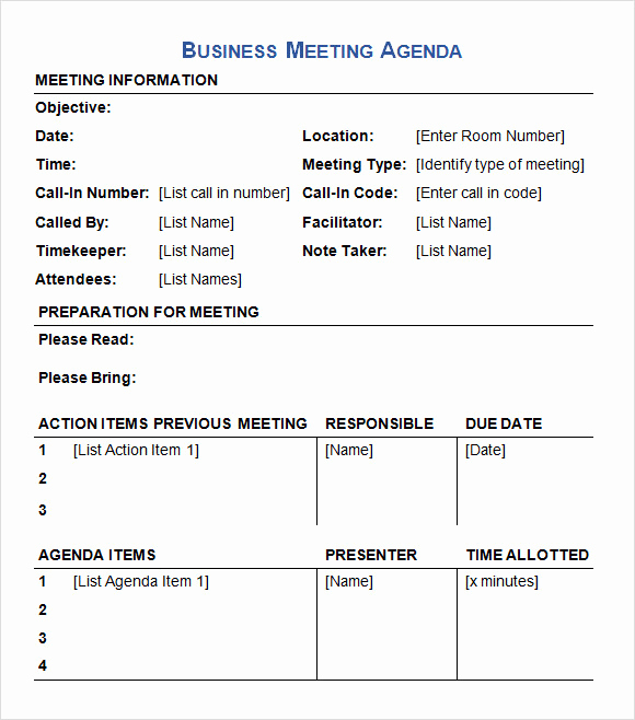 Meeting Agenda Template Doc Elegant Business Meeting Agenda Template 5 Download Free