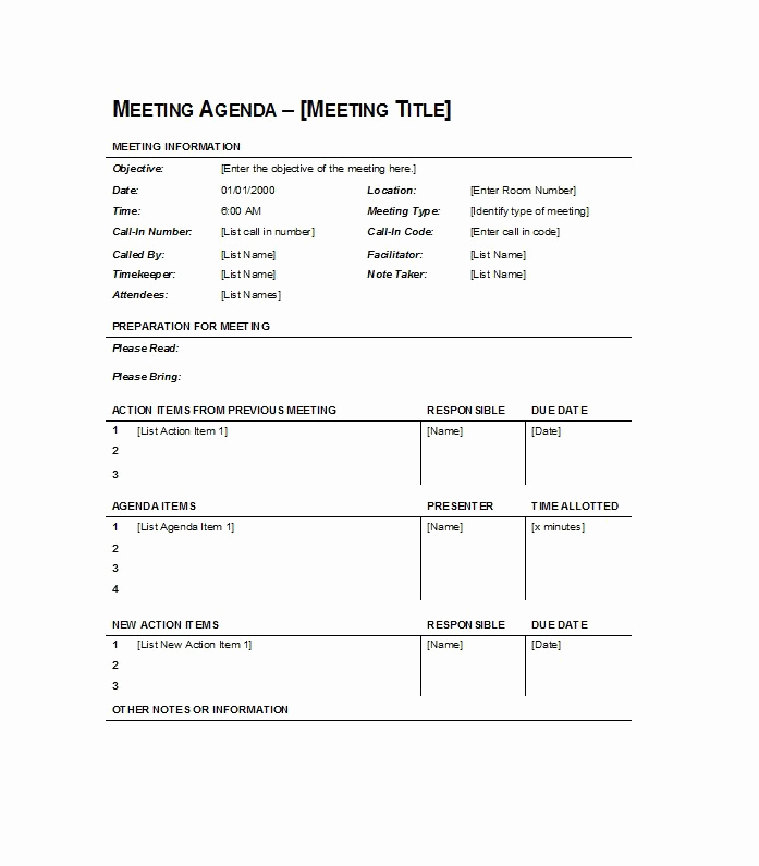 Meeting Agenda Template Doc New 46 Effective Meeting Agenda Templates Template Lab