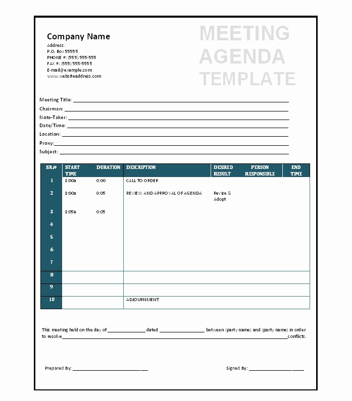 Meeting Agenda Template Word Fresh 51 Effective Meeting Agenda Templates Free Template