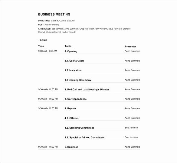 Meeting Agenda Template Word Luxury Agenda Template – 24 Free Word Excel Pdf Documents