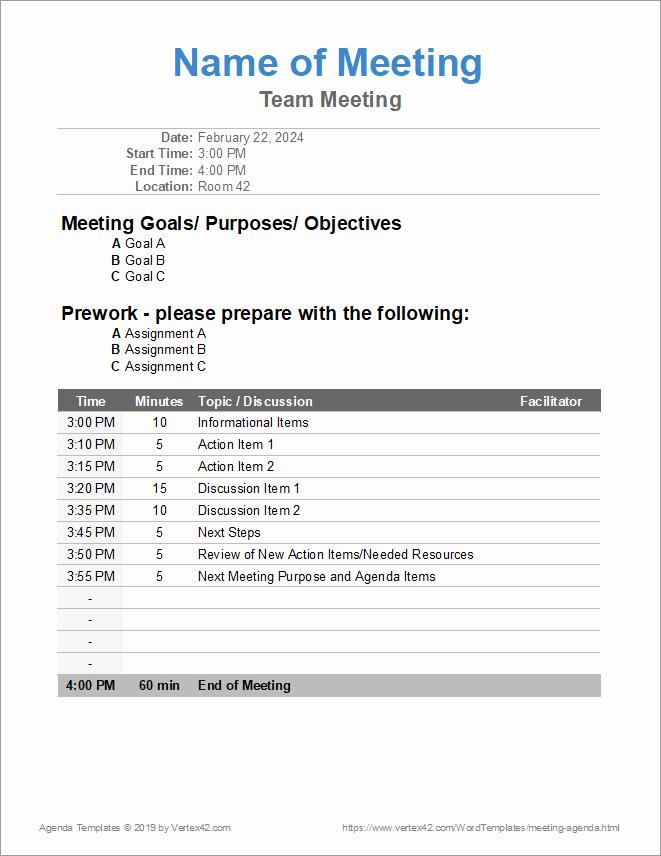 Meeting Agenda Template Word New 10 Free Meeting Agenda Templates