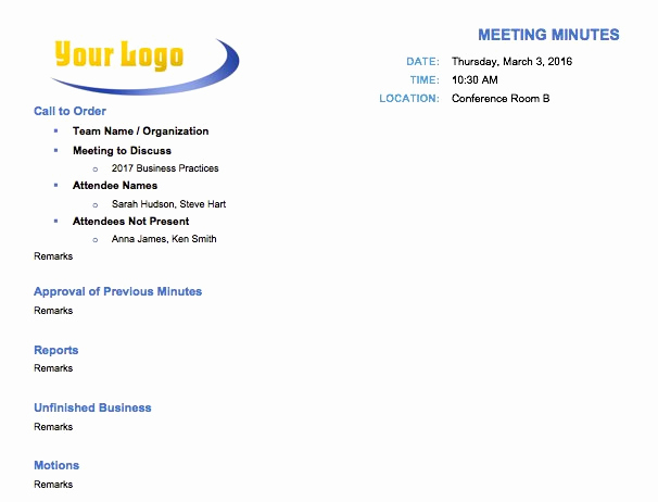 Meeting Minute Template Word Awesome Free Meeting Minutes Template for Microsoft Word