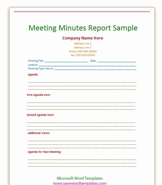 Meeting Minute Template Word Best Of Free Word Templates Meeting Minutes Report