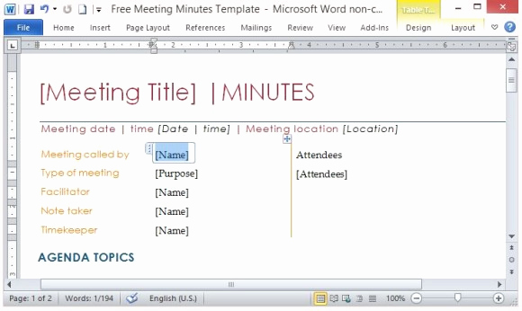 Meeting Minute Template Word Luxury Free Meeting Minutes Template for Word