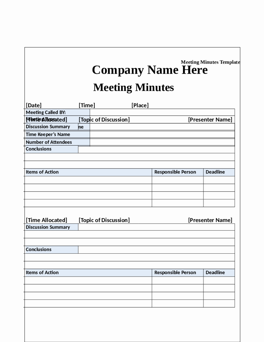 Meeting Minutes Template Doc Beautiful 2018 Meeting Minutes Template Fillable Printable Pdf