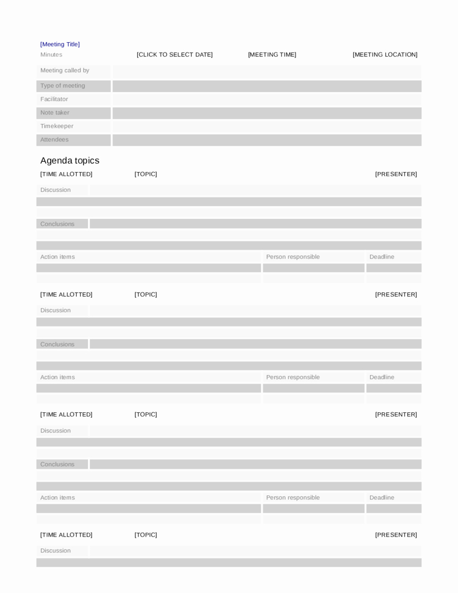 Meeting Minutes Template Doc Unique 2018 Meeting Minutes Template Fillable Printable Pdf