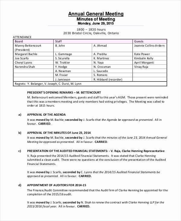 Meeting Minutes Template Doc Unique Annual Meeting Minutes Template 10 Word Pdf Document