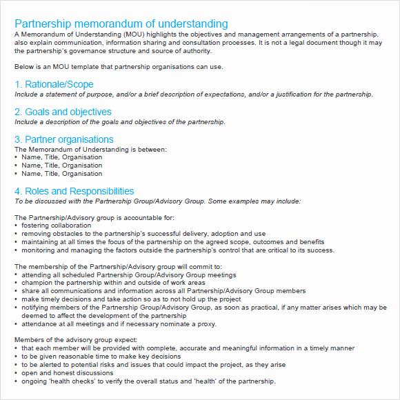 Memo Of Understanding Examples Inspirational 10 Memorandum Of Agreements – Pdf Word