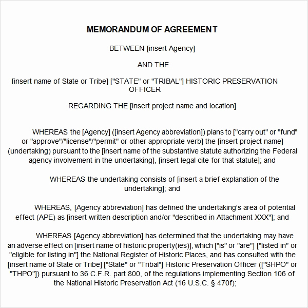 Memo Of Understanding Examples Lovely Memorandum Of Agreement 15 Free Pdf Doc Download