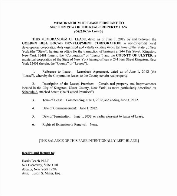 Memo Of Understanding Examples Lovely Sample Memorandum Of Lease Agreement 9 Free Documents