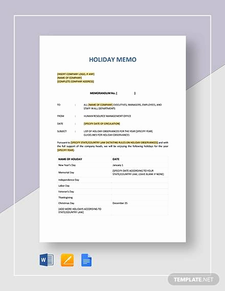 Memo Template Google Docs Best Of Sample Holiday Memo 9 Documents In Pdf Word Google Docs