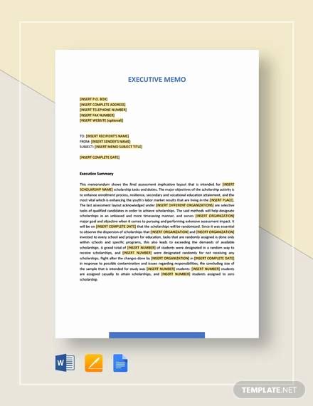 Memo Template Google Docs Inspirational Executive Memo Template 10 Examples In Word Pdf