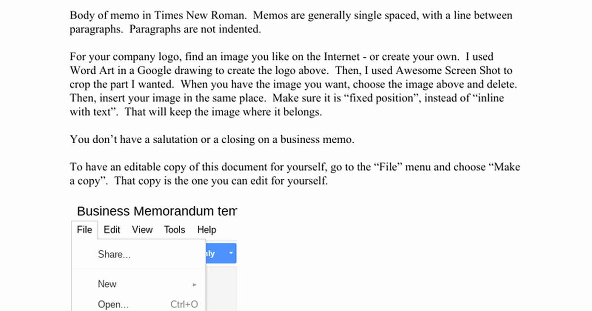 Memo Template Google Docs Lovely Business Memorandum Template Make A Copy for Yourself