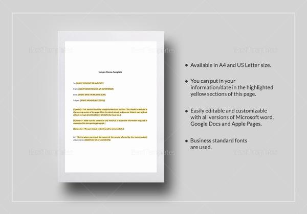 sample formal memorandum