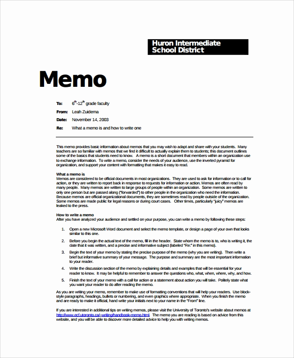 Memo Template Google Docs Unique Sample formal Memo Template 8 Documents Download In