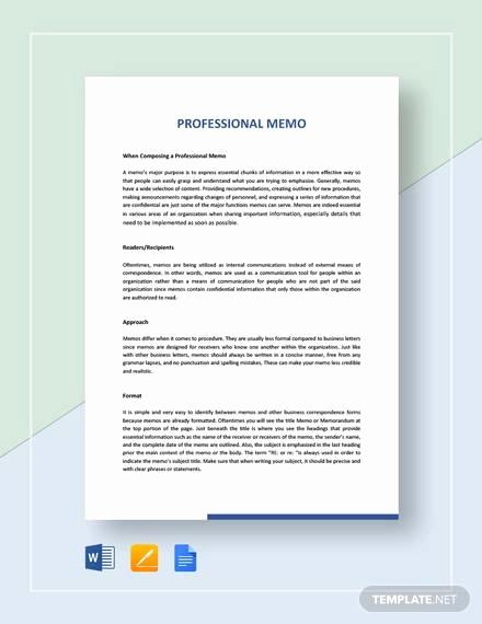 Memo Template Google Docs Unique Sample Professional Memo 13 Documents In Pdf Word