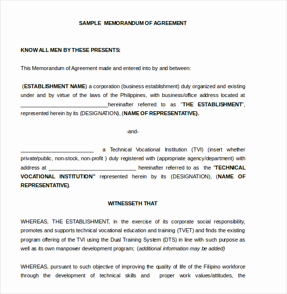 Memorandum Of Agreement Template Awesome 16 Memorandum Of Agreement Templates Pdf Doc