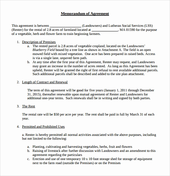 Memorandum Of Agreement Template Awesome Sample Memorandum Of Lease Agreement 9 Free Documents