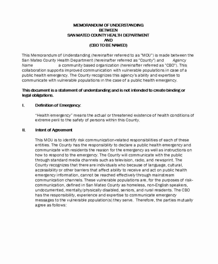Memorandum Of Agreement Template Best Of 50 Free Memorandum Of Understanding Templates [word]