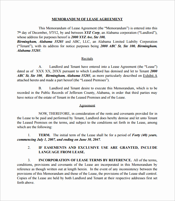 Memorandum Of Agreement Template Elegant Sample Memorandum Of Lease Agreement 9 Free Documents