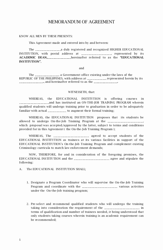 Memorandum Of Agreement Template Fresh Memorandum Agreement Sample