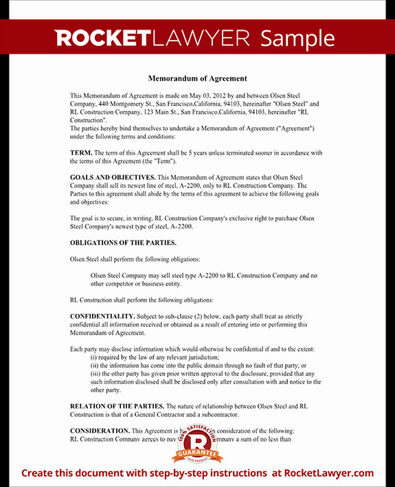 Memorandum Of Agreement Template Luxury Memorandum Of Agreement Moa form Cooperative Agreement