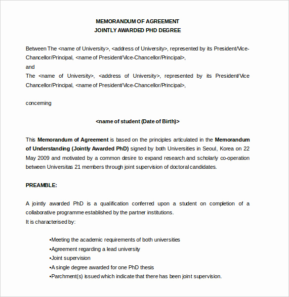 Memorandum Of Agreement Template New 13 Memorandum Of Agreement Templates – Word Pdf