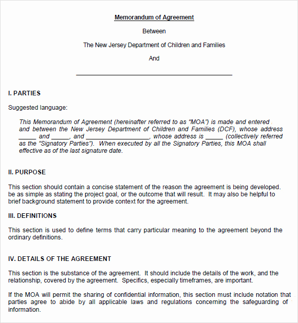 Memorandum Of Agreement Template Unique 10 Memorandum Of Agreements – Pdf Word