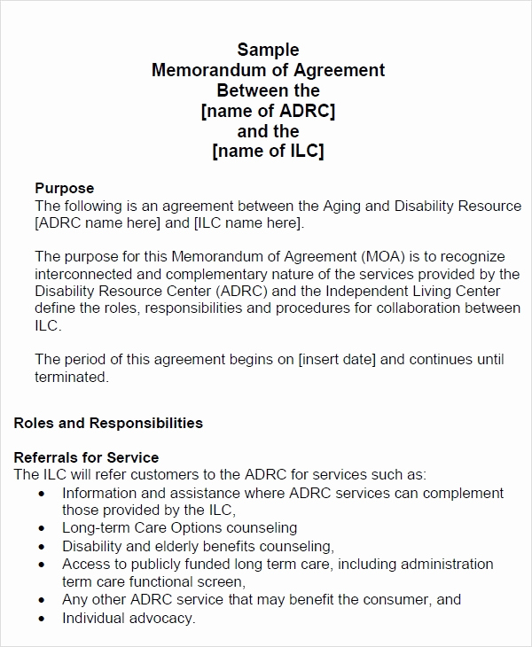 Memorandum Of Agreement Template Unique Memorandum Of Agreement 15 Free Pdf Doc Download