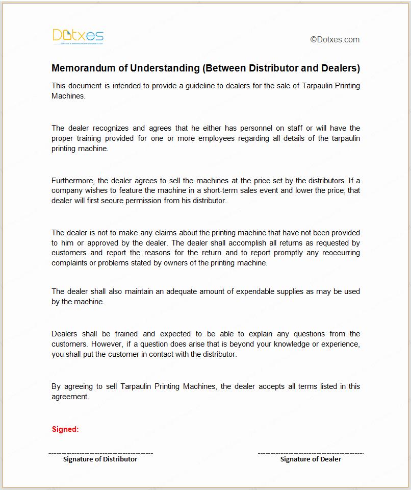 Memorandum Of Understanding Sample Beautiful Mou Template Between Distributor and Dealers Dotxes