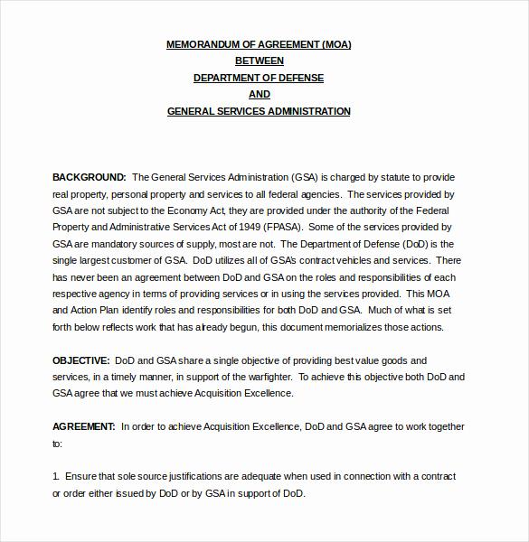 Memorandum Of Understanding Sample Best Of 16 Memorandum Of Agreement Templates Pdf Doc