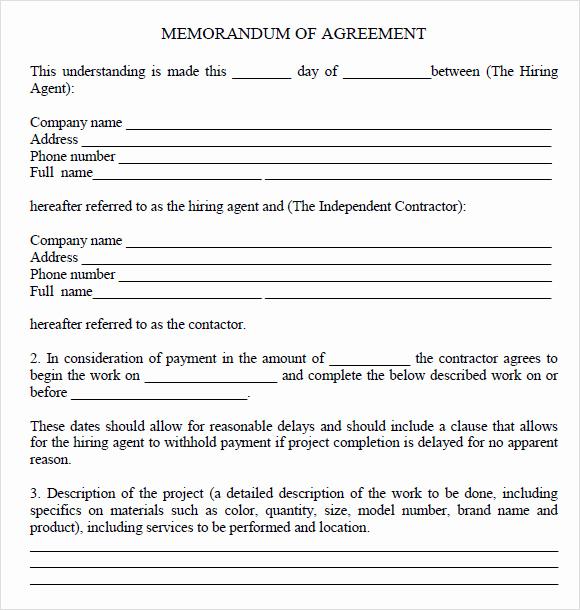 Memorandum Of Understanding Sample Elegant Memorandum Of Agreement 7 Free Samples Examples format