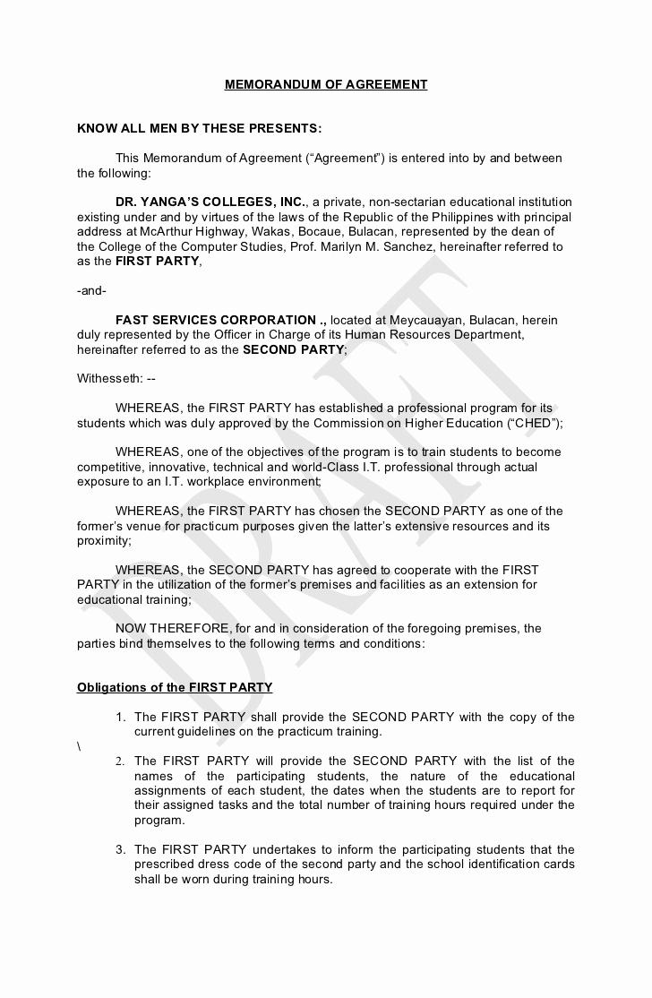 Memorandum Of Understanding Sample Fresh Memorandum Of Agreement