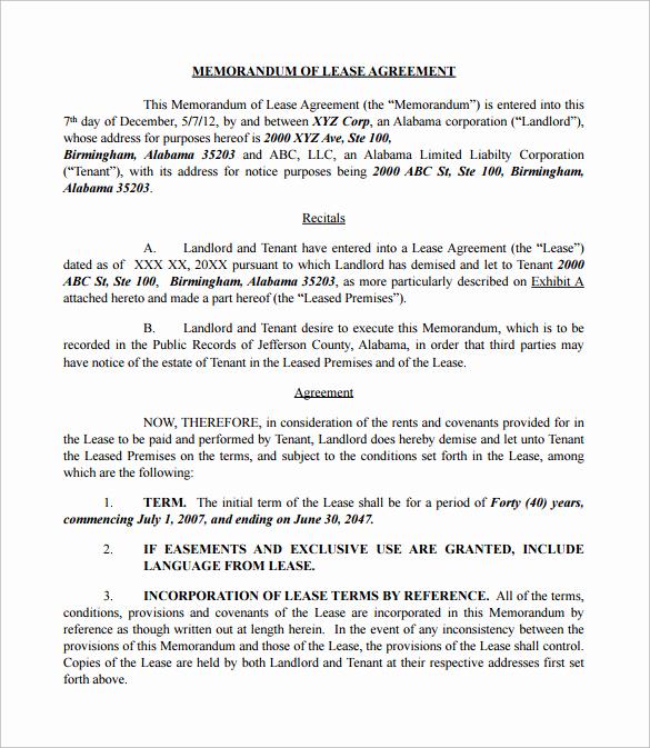Memorandum Of Understanding Sample Fresh Sample Memorandum Of Lease Agreement 9 Free Documents