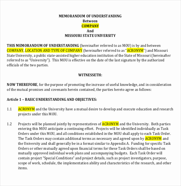 Memorandum Of Understanding Sample Inspirational Memorandum Of Understanding Template 20 Word Pdf