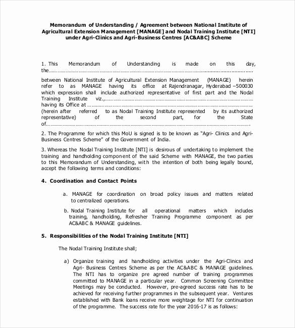 Memorandum Of Understanding Sample Luxury 41 Memorandum Of Understanding Templates Pdf Google