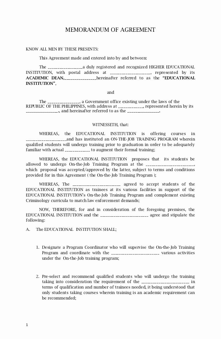 Memorandum Of Understanding Sample Luxury Memorandum Agreement Sample