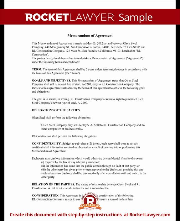 Memorandum Of Understanding Sample Luxury Memorandum Of Agreement Moa form Cooperative Agreement