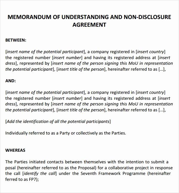 Memorandum Of Understanding Sample New Memorandum Of Agreement 9 Free Pdf Doc Download