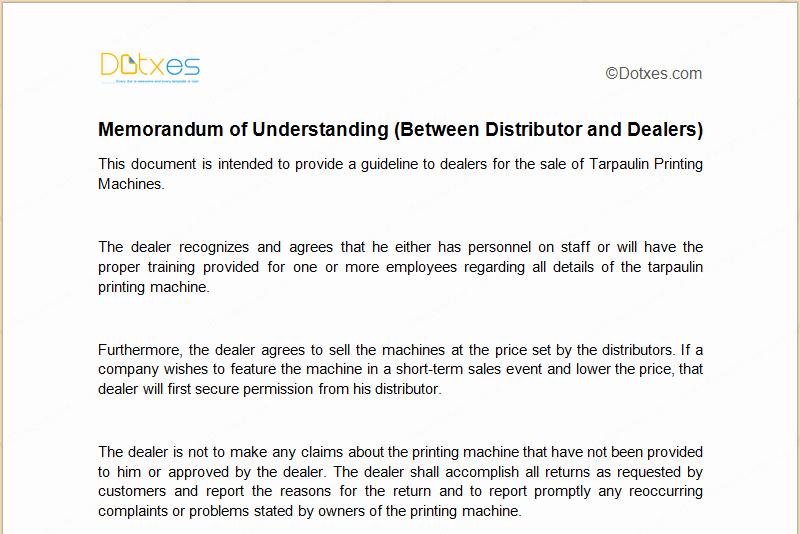 Memorandum Of Understanding Sample New Mou Template Between Distributor and Dealers Dotxes