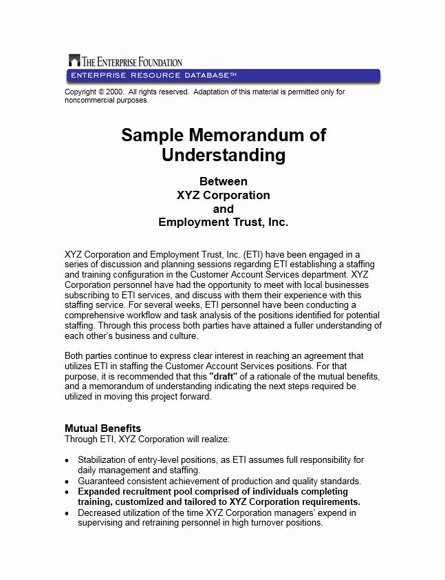 Memorandum Of Understanding Sample New Sample Memorandum Of Understanding Between Xyz Corporation