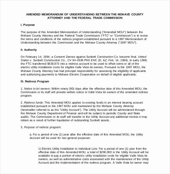 Memorandum Of Understanding Sample Unique 41 Memorandum Of Understanding Templates Pdf Google